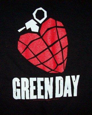 Green Day T-Shirt Heart Grenade Black Size Medium
