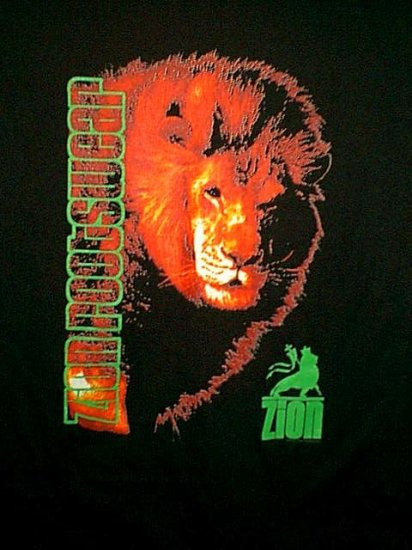 Zion Rootswear T-Shirt Lion of Judah Black Size Large
