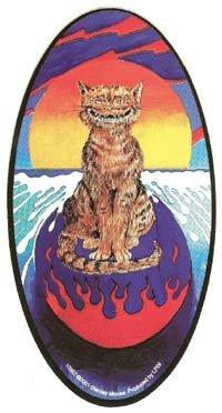 Surfing Cat Vinyl Sticker Stanley Mouse Design
