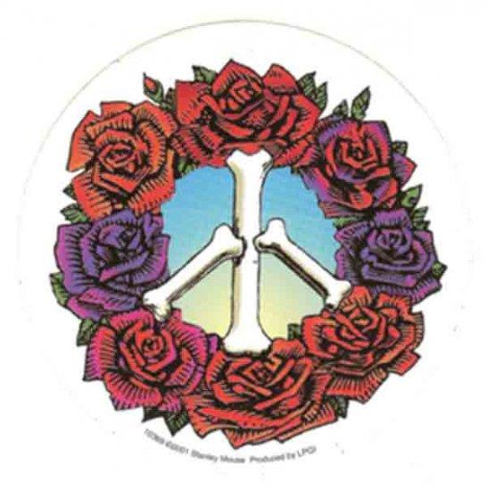 Grateful Dead Vinyl Sticker Peace Roses Logo