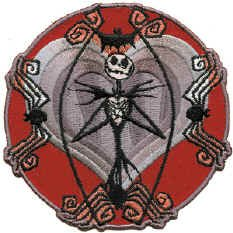 Nightmare Before Christmas Iron-On Patch Jack Heart