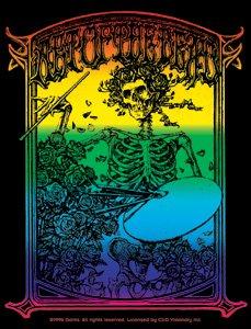 Grateful Dead Vinyl Sticker Rainbow Skeleton