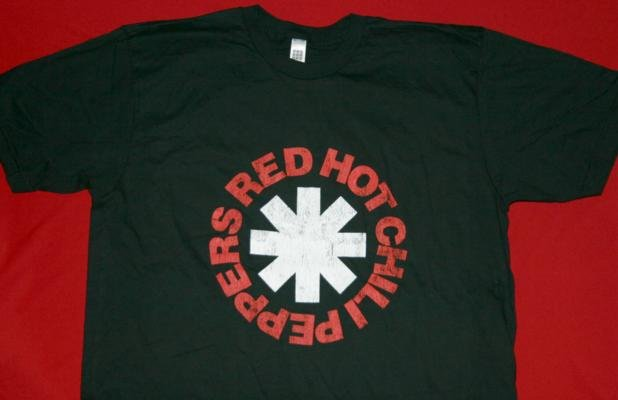 Red Hot Chili Peppers T-Shirt Distressed Logo Black Size XL