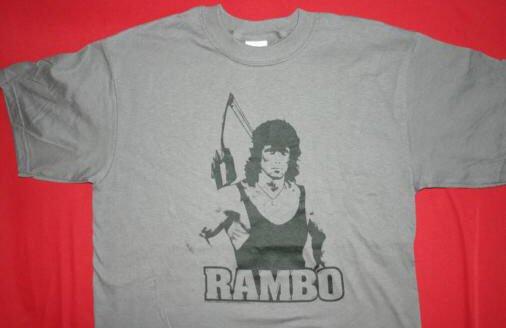 Rambo T-Shirt Tough Guy Logo Gray Size Large