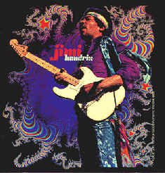Jimi Hendrix Vinyl Sticker Playing White Stratocaster