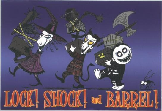 Nightmare Before Christmas Vinyl Sticker Lock Shock and Barrel