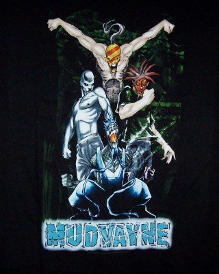 Mudvayne T-Shirt Superheroes Logo Black Size Large