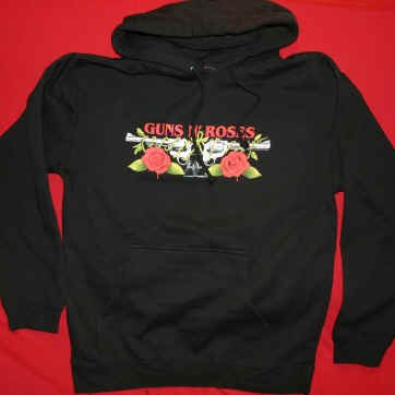 Guns n' Roses Hoodie Sweatshirt Pistols Logo Black Size Small