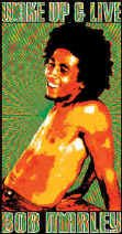 Bob Marley Vinyl Sticker Wake Up and Live Logo
