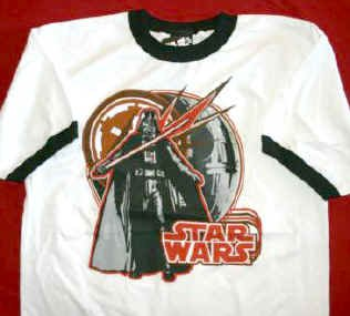 Star Wars Ringer T-Shirt Darth Vader White Size Large