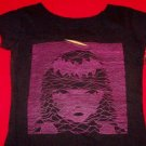 Emily the Strange Babydoll Shirt Purple Face Black Size Small