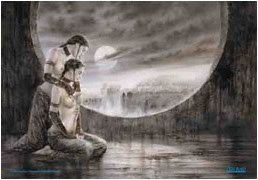 Luis Royo Poster Flag Moonlight Tapestry