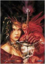 Luis Royo Poster Flag Demon and Girl Tapestry