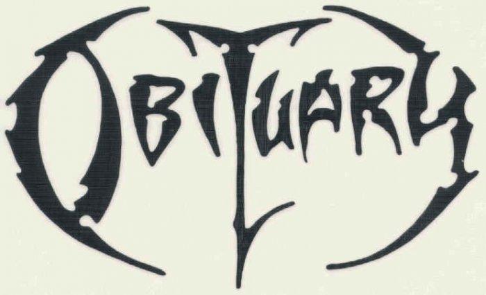 Obituary Vinyl Cut Sticker Black Letters Logo