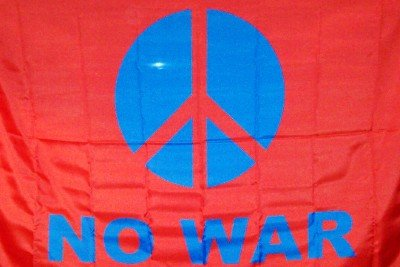 Peace Sign No War Poster Flag Red Blue Letters New