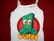 Gumby Babydoll Tank Top Shirt White Size Medium New