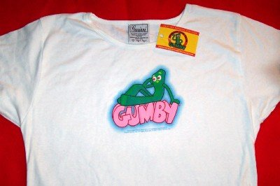Gumby Babydoll T-Shirt Puffy Logo White Size Large New