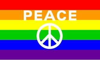 Peace Sign Rainbow Flag 3' x 5' New
