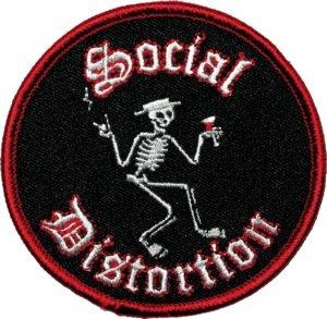 Social Distortion Iron-On Patch Martini Skeleton