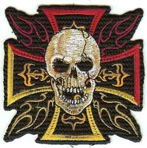 Iron Cross Skull Iron-On Patch