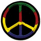 Peace Sign Iron-On Patch Colors Circle