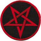 Pentagram Iron-On Patch Round Red Logo