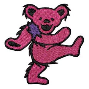 Grateful Dead Iron-On Patch Pink Dancing Bear