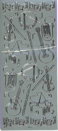 Silver Music Instuments, Flute, Tuba, Note Stickers