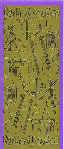 Gold Music Instuments, Flute, Tuba, Note embossed stickers