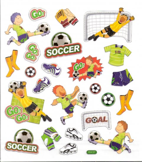6 Soccer Players, Goalie gloves, net, balls, cleats scrapbooking stickers