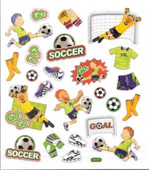 6 Soccer Players, Goalie gloves, net, balls, cleats scrapbooking stickers