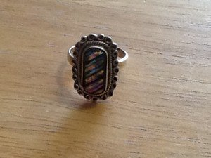 Sterling silver dichroic glass rainbow ring size 8 $34.99