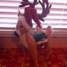 "Annalee Mobilitee Doll  Large 16"" Classic Christmas Reindeer w/ Santa Hat $55"