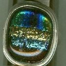 Bold Colorful Dichroic Glass Bezel Set Ring Size 7 $34.99