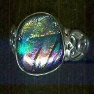 Bold rainbow Dichroic Glass Bezel Set Ring Size 7.75 Sterling Silver $39.99