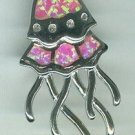 Beautiful Pink Opal Sealife Jelly Fish Sterling Silver Pendant Charm Sterling Silver $45