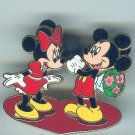 Large Mickey giving Minnie Mouse Flowers on Heart Valentines Day Pin $29.99