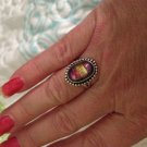 Beautiful Sterling Silver .925 Pink Yellow Dichroic Glass Ring Size 7