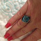 Sterling Silver .925 Dichroic Glass Blue Stripe Ring Size 7