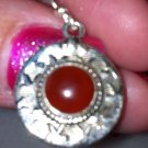 Sterling Silver .925 Carnelian Bezel Set Earrings Discs. New