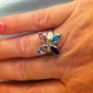 Sterling Silver .925 Multi gem Amethyst Topaz Flower Ring sz 8