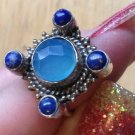 New Solid Sterling Silver .925 Blue Lapis & Chalcedony Fancy Ring Size 6