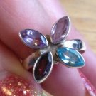 New Solid Sterling Silver .925 Amethyst Blue Topaz Multi Gem Flower Ring Size 8
