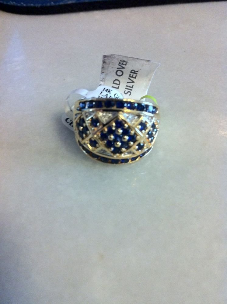 Sterling Silver .925 w/ 14K Gold Overlay Created Sapphire & Genuine Diamond Ring