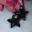 "Dichroic Glass Multi Colored Star Earrings 1.25"" long New"