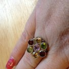 New Solid Sterling Silver .925 Multi Gem Cluster Ring Citrine Peridot Size 7