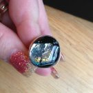 New Solid Sterling Silver .925 Green Dichroic Glass Free Form Ring Size 7