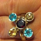 Sterling Silver .925 Multi Gem Blue Topaz, Garnet and Citrine Ring Size 9