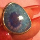 Sterling Silver .925 Blue Solar Quartz  Ring Size 9.75
