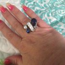 Sterling Silver .925  Blister Pearl Dichroic Glass Lapis Lazuli Sz 8 Ring $39.99